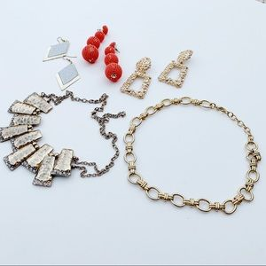 5 Pc. Statement Gold Chain Earrings Necklaces J12